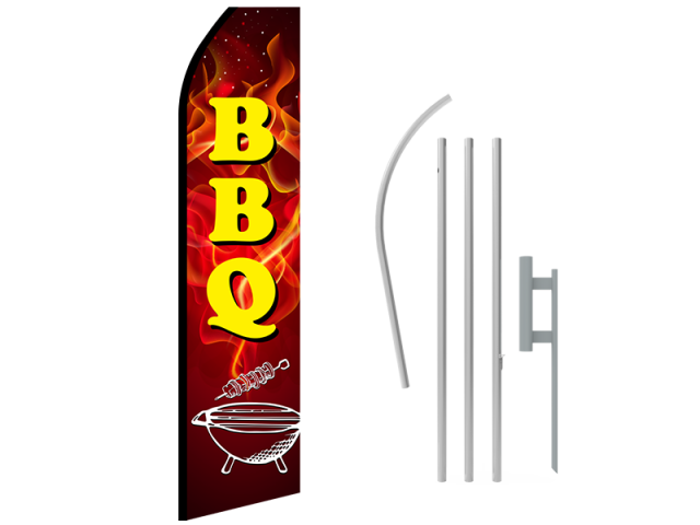 16ft BBQ Stock Swooper Flag with Ground Stake 01
