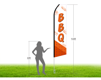16ft BBQ Stock Swooper Flag with Ground Stake 02