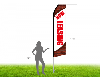 16ft NOW LEASING Stock Swooper Flag with Ground Stake 02
