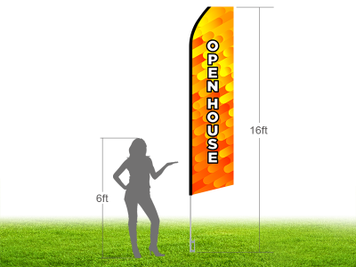 16ft OPEN HOUSE Stock Swooper Flag with Ground Stake 02
