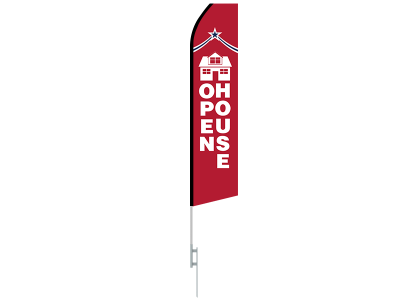 16ft OPEN HOUSE Stock Swooper Flag with Ground Stake 04