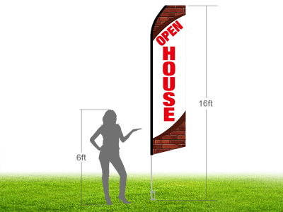 16ft OPEN HOUSE Stock Swooper Flag with Ground Stake 05