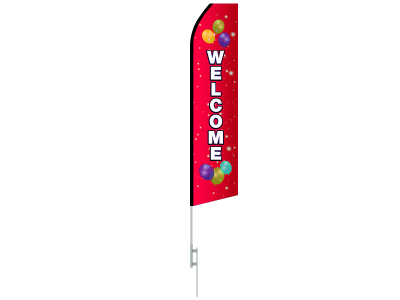 16ft WELCOME Stock Swooper Flag with Ground Stake 02