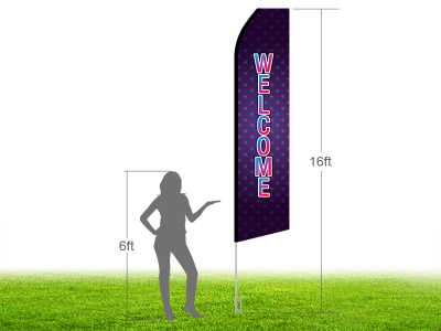 16ft WELCOME Stock Swooper Flag with Ground Stake 03