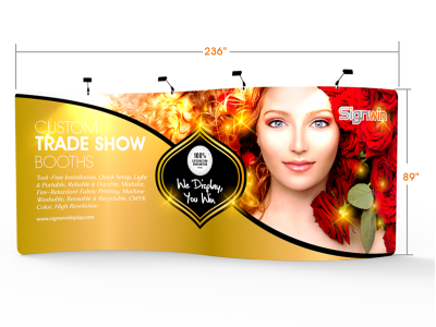 Custom 20ft S-Shaped & Elegant Tension Fabric Trade Show Backwall Display (Frame + Graphic)