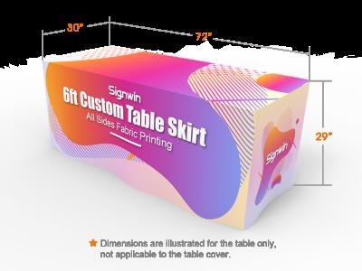 6ft Custom Table Skirt Graphic Printing