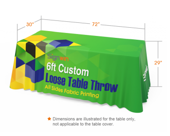 6ft Full Color Loose Table Throw with Clear Logo Printed