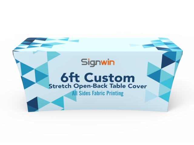 6ft Stretch Fit Open-Back Table Cover Colorful Logo Printing