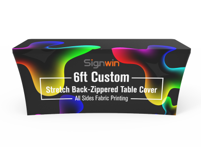 6ft Stretch Fit Back-Zippered Table Cover Custom Printing with Logo