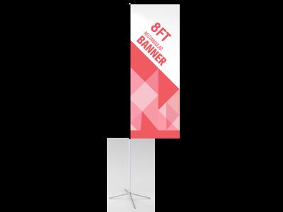 8ft Custom Rectangular Flag with Cross Base & Water Bag