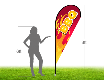 8ft BBQ Stock Teardrop Flag with Ground Stake 01