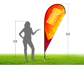 8ft BBQ Stock Teardrop Flag with Ground Stake 02