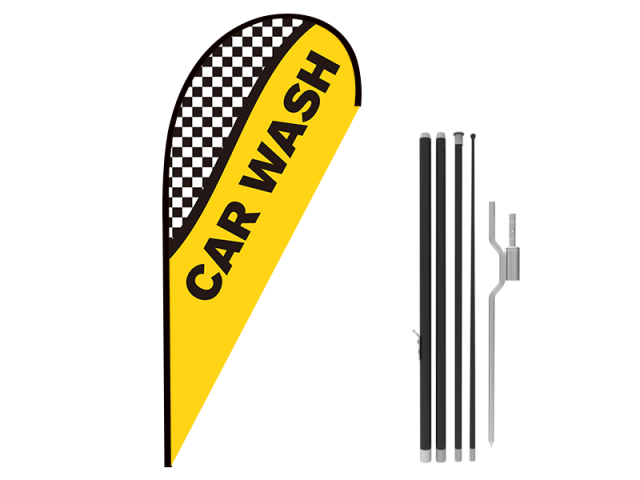 8ft CAR WASH Stock Teardrop Flag with Ground Stake 04