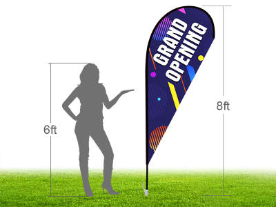 8ft GRAND OPENING Stock Teardrop Flag with Ground Stake 01