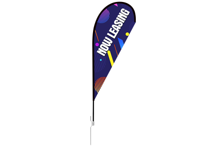 8ft NOW LEASING Stock Teardrop Flag with Ground Stake 01
