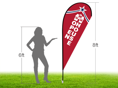 8ft OPEN HOUSE Stock Teardrop Flag with Ground Stake 04