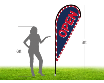 8ft OPEN Stock Teardrop Flag with Ground Stake 01