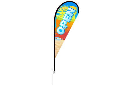 8ft OPEN Stock Teardrop Flag with Ground Stake 02