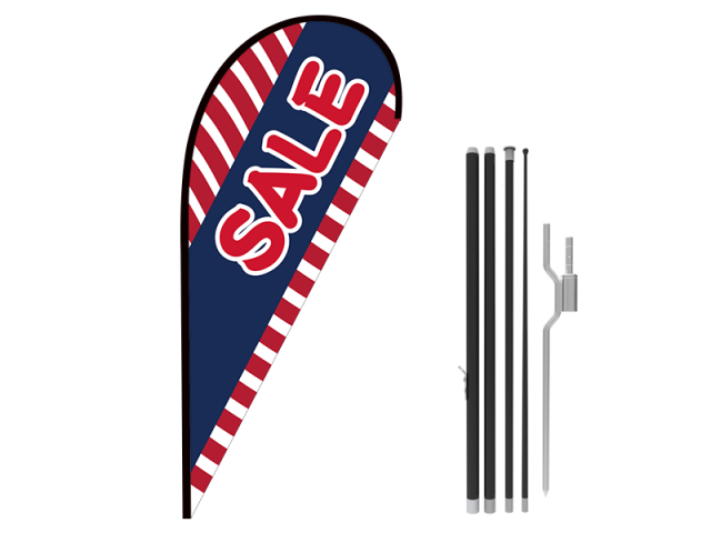 8ft SALE Stock Teardrop Flag with Ground Stake 05