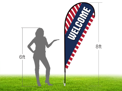 8ft WELCOME Stock Teardrop Flag with Ground Stake 02
