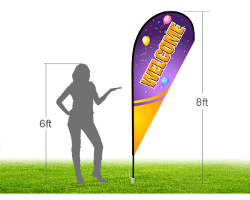 8ft WELCOME Stock Teardrop Flag with Ground Stake 03