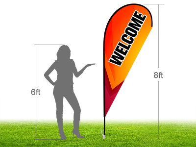 8ft WELCOME Stock Teardrop Flag with Ground Stake 04