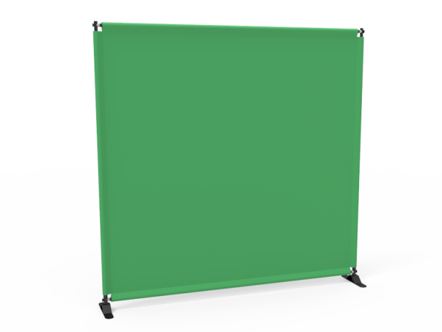 8x8 Stock Unprinted Green & White Large Tube Telescopic Tension Fabric Backdrop Banner Stand