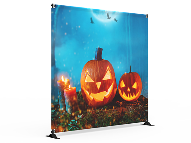 8x8 Halloween Large Tube Telescopic Tension Fabric Backdrop Banner Stand 03