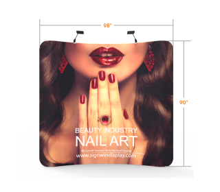 Custom 8ft Curved & Portable Tension Fabric Trade Show Backwall Display (Frame + Graphic)