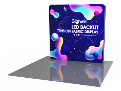 Custom 8ft Flat Brilliant Tension Fabric LED Backlit Trade Show Display