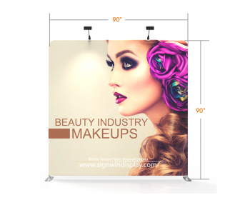 Custom 8ft Flat & Lightweight Tension Fabric Trade Show Backwall Display (Frame + Graphic)