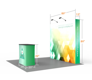 Custom 8ft Straight & Free-Standing Fabric Pop Up Trade Show Booth Backwall Display with Premium Case to Podium (Frame + Graphic)