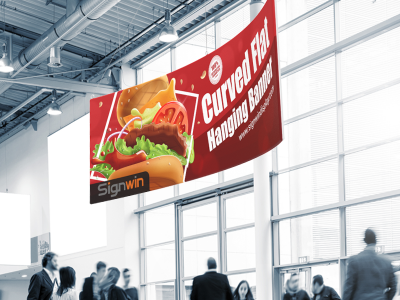 Curved Flat Hanging Banner Custom Printing for Conventions