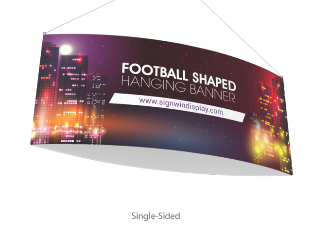 Football Shaped Hanging Banner Fabric Printing For Events