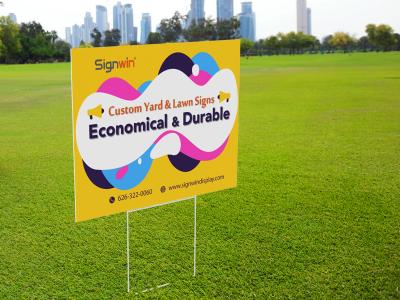 Custom Yard & Lawn Sign w/ H Frame Economical & Durable