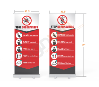 Stop Germs Standard Retractable Banner Stand with Economic Base 01