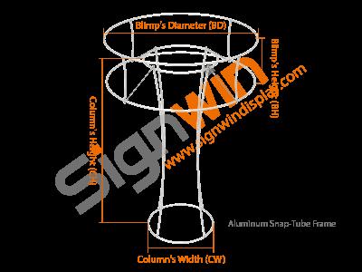 Custom Tapered Circular Trade Show Tower Display with Circular Tube Blimp