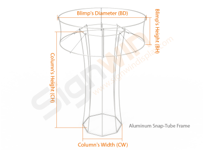 Custom Tapered Octagonal Trade Show Tower Display with Circular Tube Blimp