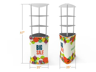 Triangular Display Tower Counter with Custom Graphic
