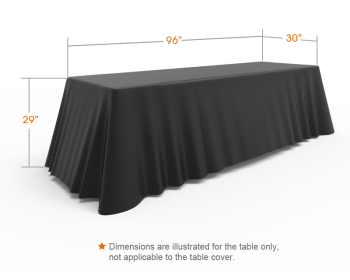 8ft Unprinted Black Versatile Loose Table Throw with Round Corners