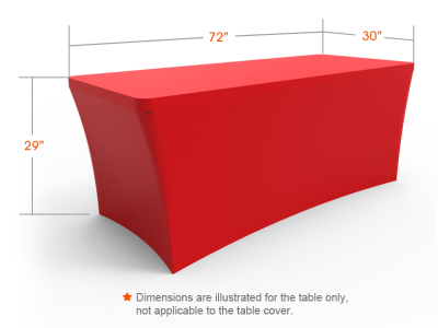 6ft Unprinted Red Stretch Fit Open Back Table Cover