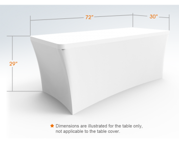 6ft Unprinted White Stretch Fit Open Back Table Cover