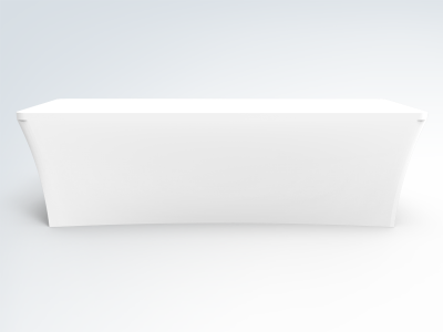 8ft Unprinted White Stretch Fit Open Back Table Cover