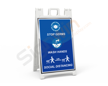 Signicade Standard A Frame Signs Print Signage Wash Hands & Social Distancing 01